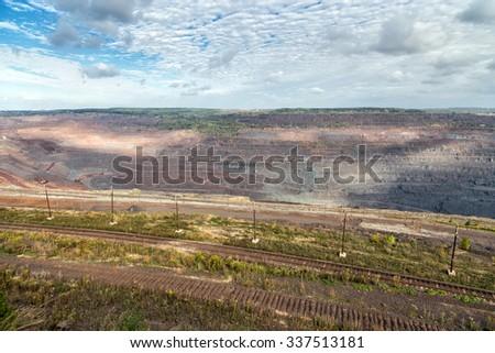 Iron ore mining. Mikhailovsky Mining and Processing Plant. Zheleznogorsk. Russia. Kursk Magnetic Anomaly - stock photo