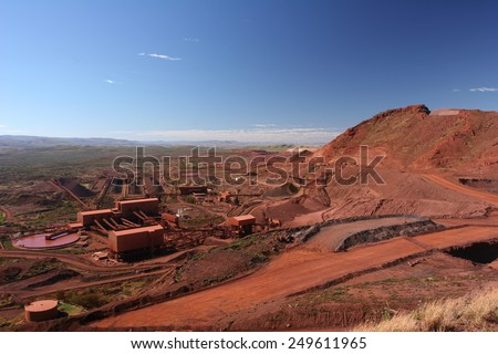 Iron ore mining operations Pilbara region Western Australia - stock photo