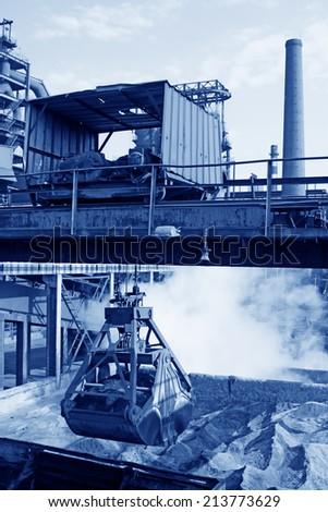 Iron ore powder stock ground in the steel mills, closeup of photo - stock photo