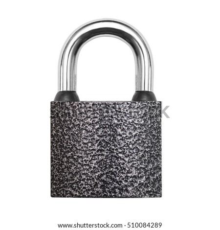 Iron padlock isolated on white background. Flat lay, top view.