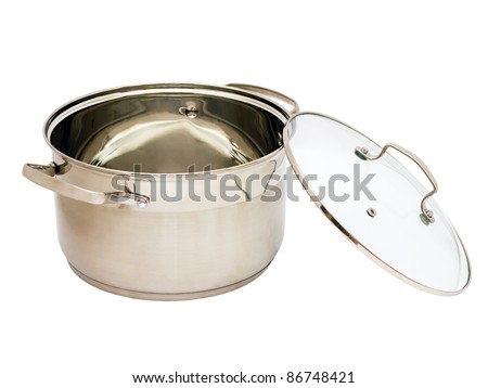 iron pan with glass lid isolated on white background