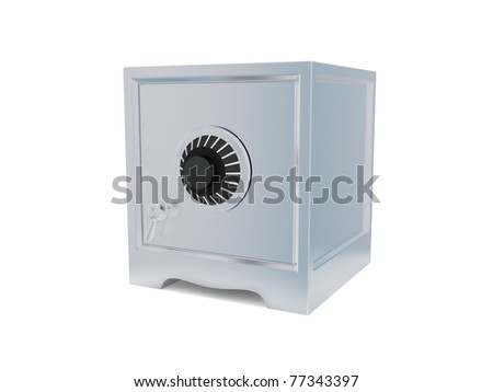 Iron safe isolated on white background. 3d rendered.