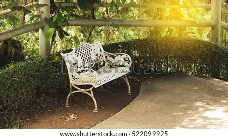 iron seat bench for relaxing in garden park