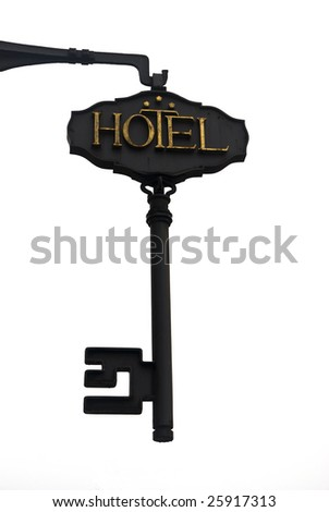 Iron signboard of a hotel - stock photo