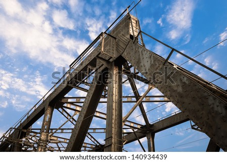 iron, steel, crossbeam, rivet, engineering, strong, girder, highway, span, concrete, support, cast, frame, strength, blue, bridge, construction, structure, beam, road, metal - stock photo