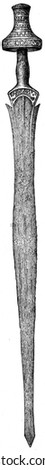 Iron sword with a handle of ivory, Halstatt tomb, Austria - an illustration of the encyclopedia publishers Education, St. Peterburg, Russian Empire, 1896 - stock photo