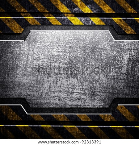 iron template with warning stripe - stock photo