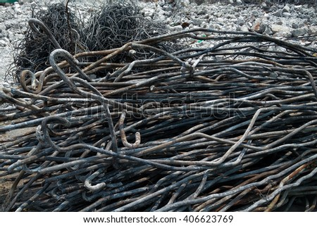Iron wire from destroyed building.