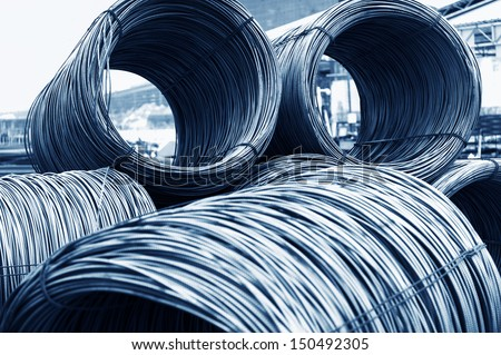 iron wires under the sky for construction - stock photo