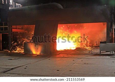 iron works blast furnace flame, closeup of photo