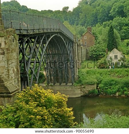 Ironbridge over the river Severn in Telford England, UNESCO World Heritage Site - stock photo