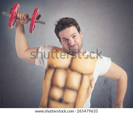 Ironic fat man does gym with abs - stock photo