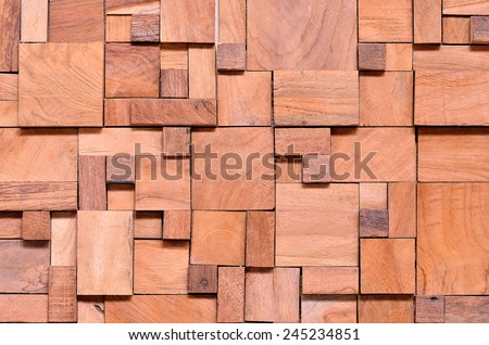 Irregularly shaped wooden blocks background  - stock photo