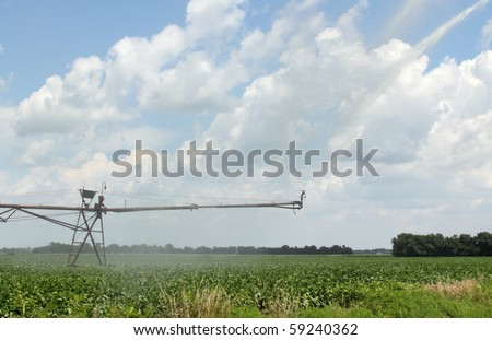 Irrigating a soybean field with a blue sky and clouds - stock photo