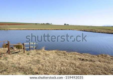 Irrigation dam on a farm in the Kwazulu Natal Midlands, Nottingham Road, South Africa
