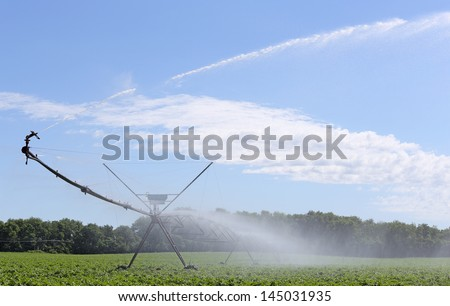 Irrigation equipment watering a field of soybeans
