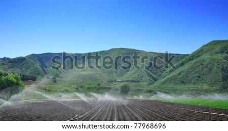 irrigation in California desert lands - stock photo