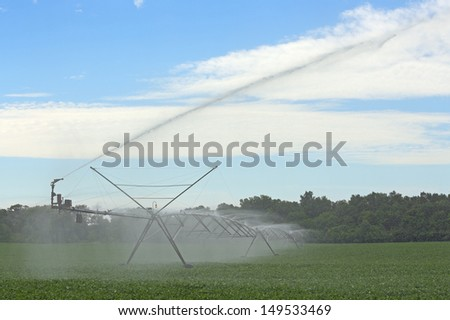 Irrigation system watering a field of soybeans - stock photo
