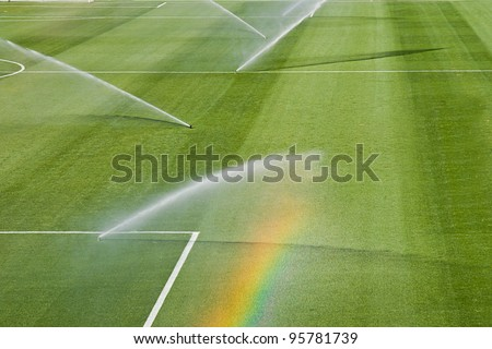 irrigation turf of Rosaleda stadium, Malaga, Spain - stock photo