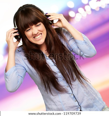 Irritate Girl listening Music, Outdoor