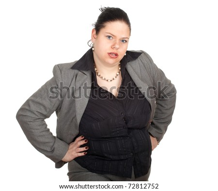 irritated overweight, fat businesswoman in grey suit - stock photo
