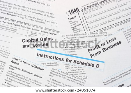 IRS Federal Income Tax Forms - stock photo