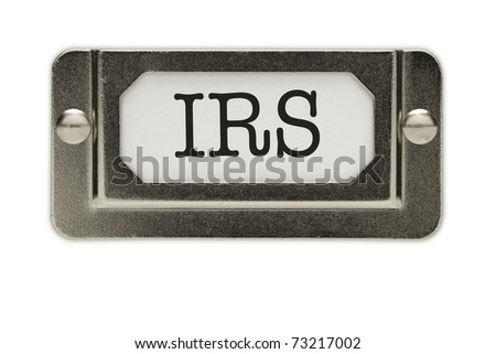 IRS File Drawer Label Isolated on a White Background. - stock photo