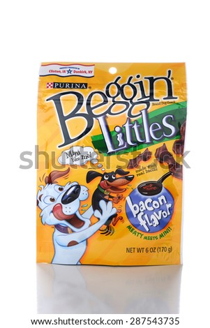 IRVINE, CA - JUNE 14, 2015: A package of Beggin Littles. The bacon flavored snacks are made for small breed dogs by the Nestle Purina PetCare Company. - stock photo
