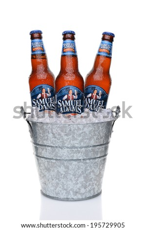 IRVINE, CA - MAY 25, 2014: Samuel Adams Boston Lager bottles in a bucket of ice. Brewed by the Boston Beer Company one of the largest American-owned beermakers.