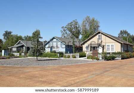 IRVINE, CALIFORNIA - FEBRUARY 24, 2017: Row Houses at the Irvine Ranch Historic Park. The 16.5 acre park has 24 original ranch structures that represent the agricultural history of Orange County.