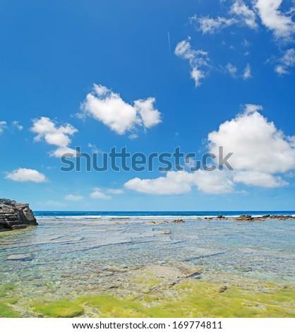 is Arutas beach under a blue sky - stock photo