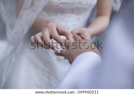 Is the ring exchange of wedding / wedding ring - stock photo