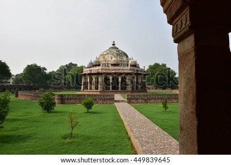 Isa Khan Niyazi's tomb in Humayun Tomb complex, tomb dates back to 1547, He was an Afghan noble in Sher Shah Suri's court of the Suri dynasty, who fought against the Mughals