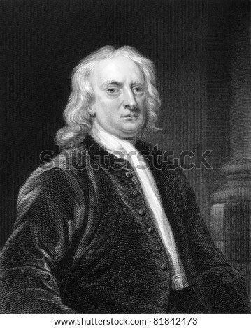 Isaac Newton (1643-1727). Engraved by E.Scriven and published in The Gallery Of Portraits With Memoirs encyclopedia, United Kingdom, 1837. - stock photo