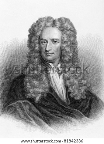 Isaac Newton (1643-1727). Engraved by Freeman and published in Lives of Eminent and Illustrious Englishmen, United Kingdom, 1830. - stock photo