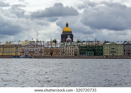 Isaac's Cathedral and the Neva Embankment in Saint Petersburg. Russia