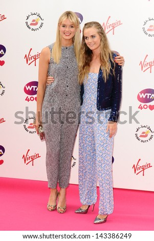 Isabella Branson and Cresida Bonas arriving for the WTA Pre-Wimbledon Party 2013 at the Kensington Roof Gardens, London. 20/06/2013 - stock photo