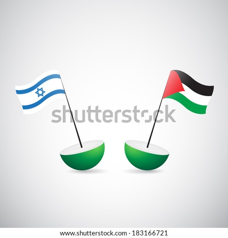 isdraelian and palestinian flags - stock photo