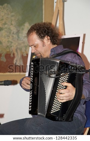 "ISEO,ITALY - FEBRUARY 15:  exhibition live of the italian accordion player Fausto Beccalossi at the Castle Oldofredi for the event ""Acoustic Franciacorta"",15 February,2013 in Iseo,Italy"