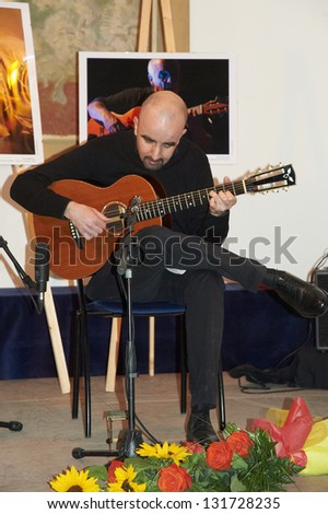 "ISEO,ITALY - MARCH 15:  exhibition live of the italian guitar player Gianmarco Astori at the Castle Oldofredi for the event ""Acoustic Franciacorta"",15 March,2013 in Iseo,Italy"