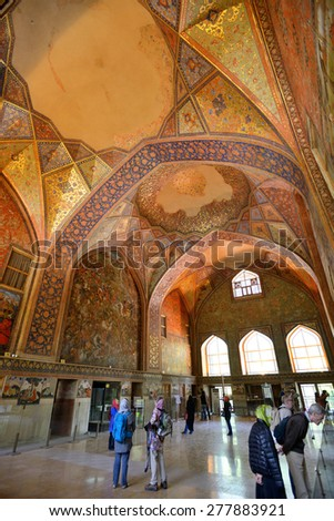 ISFAHAN - APRIL 19: interior of the Chehel Sotoun palace in Isfahan, Iran on April 19, 2015. Chehel sotoun was built in 1646 by Shah Abbas II to be used for his entertainment and receptions..