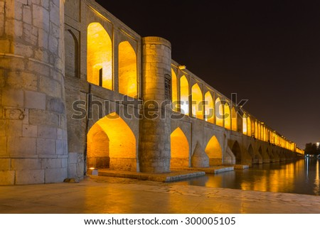 ISFAHAN, IRAN - APRIL 28, 2015: unidentified people resting in the ancient bridge Si-o-Seh Pol, The Bridge of 33 Arches, in Isfahan, Iran