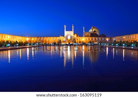 ISFAHAN, IRAN -Â?Â? OCTOBER 16: Imam Mosque on October 16, 2013 in Isfahan, Iran. Imam Mosque is standing in south side of Imam Square and regarded as one of the masterpieces of Persian architecture. - stock photo