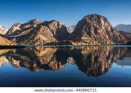 Iskanderkul Lake, Fann mountains, Tajikistan, Central Asia - stock photo
