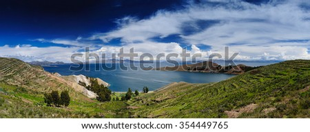 Isla Del Sol. Island of the Sun. Bolivia. Titicaca lake panorama - stock photo