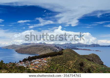 Isla Del Sol. Island of the Sun.  Island on Lake Titicaca. Bolivia. View from the island of the lake. - stock photo