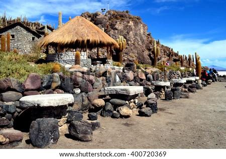 Isla Incahuasi (Pescadores), Salar de Uyuni, Bolivia - stock photo