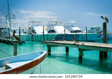Isla Mujeres Island  Jetty . Mexico, Cancun - stock photo