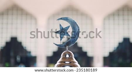 Islam Symbol in a doom mosque background - stock photo