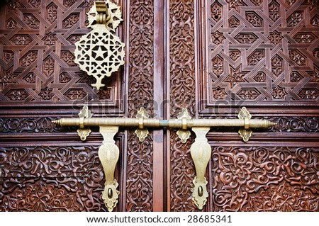 Islamic carved door with beautiful details background. - stock photo